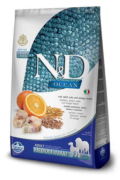 N&D OCEAN DOG LG Adult M/L Codfish & Orange 12kg