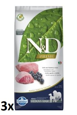 N&D PRIME DOG Adult M/L Lamb & Blueberry 3x12kg