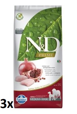 N&D PRIME DOG Adult M/L Chicken & Pomegranate 3x12kg