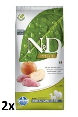 N&D PRIME DOG Adult M/L Boar & Apple 2x12kg