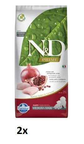 N&D PRIME DOG Puppy M/L Chicken & Pomegranate 2x12kg