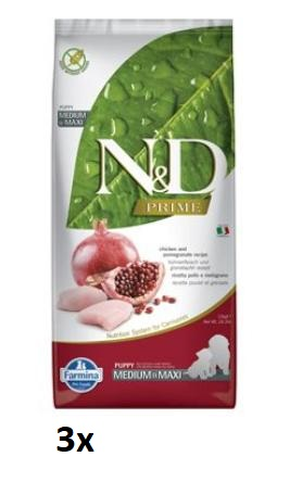 N&D PRIME DOG Puppy M/L Chicken & Pomegranate 3x12kg